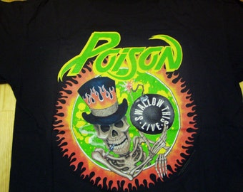 Poison Tour Tshirt 1992 Swallow This Flesh and Blood Tour Vintage DeadStock Glam Metal rock tee quiet riot Cinderella Guns n Roses t shirt