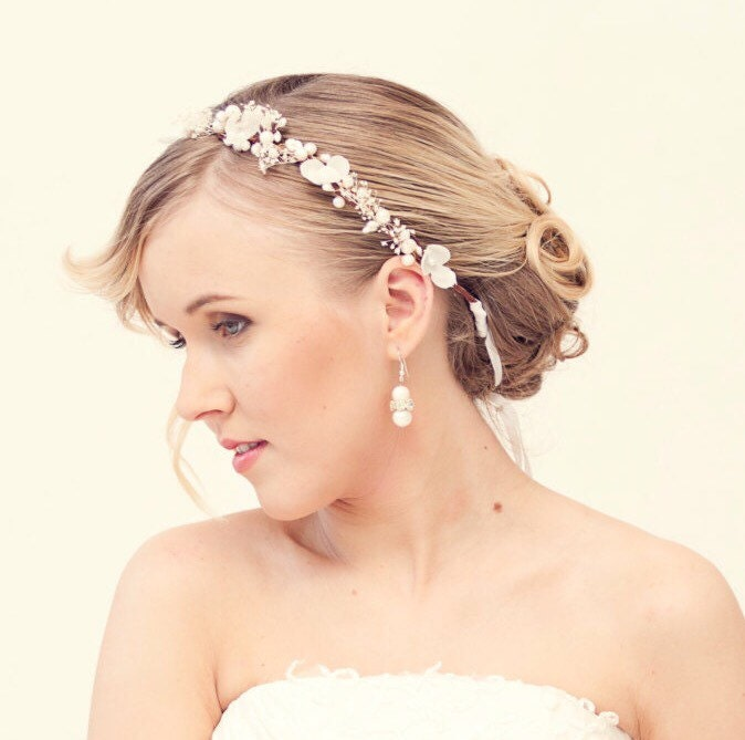 Wedding Flower Crown Suppliers : Pearl flower crown bridal wedding tiara with