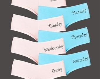 Day of the Week Underwear Shorties / Panties / Hot Shorts / Boy Shorts