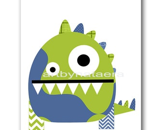 Kids Art Kids Wall Art Baby Nursery Decor Baby Boy Nursery Decor Nursery Art Print Nursery Wall Art Boy Print Monster Nursery Green