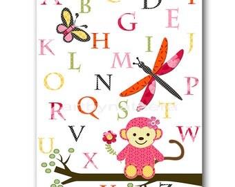 Pink Yellow Orange Monkey Alphabet Nursery Wall Art Childrens Art Print Baby Girl Nursery Decor Kids Room Decor Baby Nursery Art Print