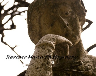 Ethereal Historic Cemetery Statue, Still Life Fine Art Angel Photography 8x10