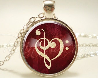 Music Note Necklace, Clef Note Sheet Music Lovers Heart Pendant (1823S1IN)