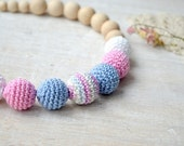 Nursing necklace New mom necklace Neutral color Safe wood bead Mama Crochet Necklace Ecofriendly Teething necklace Pink blue white