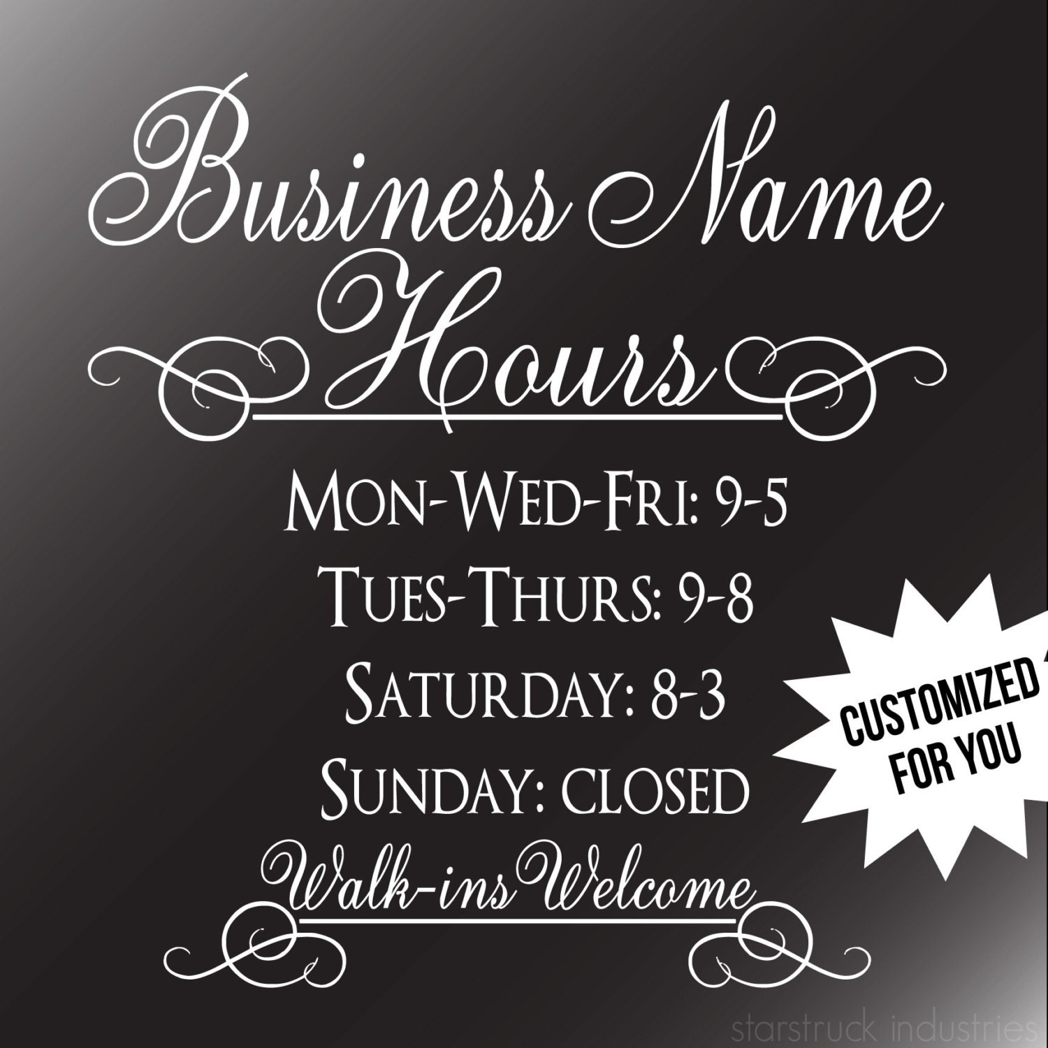 Business Hours Decal Storefront Window Business Hours Decal