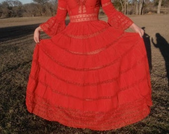 Vintage Mexican Wedding Dress, Red wedding dress, Handmade Boho Dress, Lace