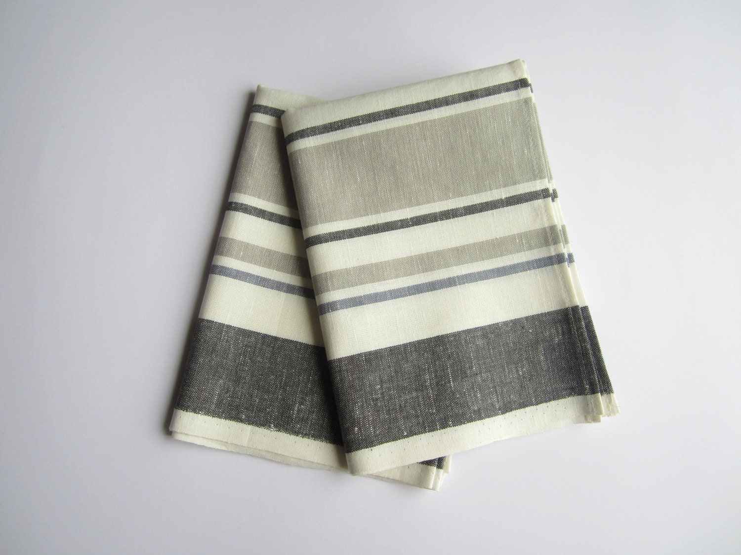 striped gray linen kitchen towel set of 2 with by linenpearls. Black Bedroom Furniture Sets. Home Design Ideas