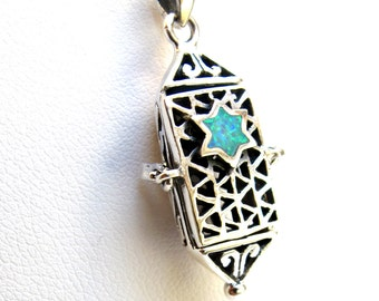 mezuzah necklace pendant silver jewish star david charm opal  925  sterling stering new judaica