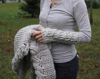 Crochet pattern cable fingerless mittens textured chunky bulky women braided long gloves, DIY photo tutorial, Instant download