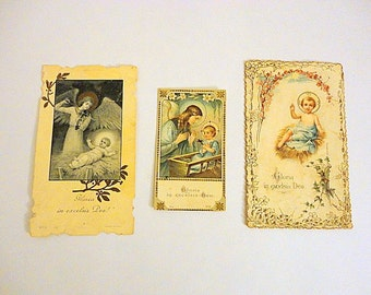 Vintage Prayer Cards- 1900s - Christmas Nativity - Baby Jesus- SET of 3 -Antique Holy cards