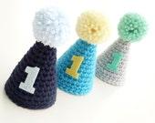 Custom Birthday Hat--Mini Party Hat--First Birthday--Crochet Hat--Photo Prop--Pom Pom Hat--Boy or Girl Birthday--Sweetlace shop