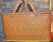 Vintage 1950's Redmon Picnic Basket ~ Great ~ Original Plastic Plates and Cups