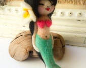 Handmade Mermaid Hello Kokeshi Doll Needle Felted Doll and Necklace