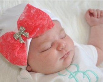 Lace Bow Hospital Cap Coming Home Outfit, Take Home Outfit, Going Home Outfit, Newborn Cap, Newborn Hat, Baby Shower