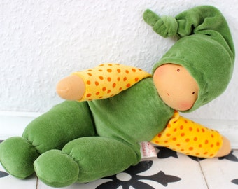 cuddle doll/green, 13 inch, organic doll, soft doll, waldorf doll, steiner doll,