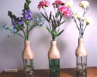 Bud Vases with Permanent Florals and Acrylic Water