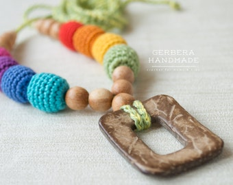Rainbow Nursing necklace/ Teething necklace/ Breastfeeding/ chew beads/ Nursing necklace by GerberaHandmade