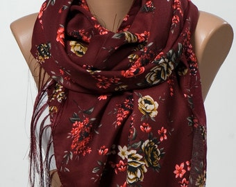 NEW SEASON. Burgundy and colorful floral Scarf wrap. Neck wrap or shwl for Spring.