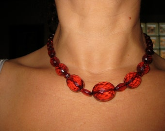 Cherry Amber Bakelite Necklace Faceted Graduated Beads Superb Art Deco Translucent Necklace Choker