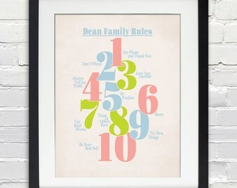 Custom Family Rules Poster, Home Decor, Print or Canvas Art, 8x10, 11x14, 16x20, 20x30