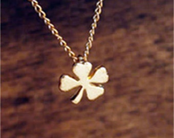 Little Four leaf clover necklace, Gold clover jewelry, 16 inches
