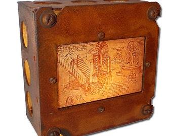 "Leonardo da Vinci ""Gears & Pulleys"" Night Light Steampunk"