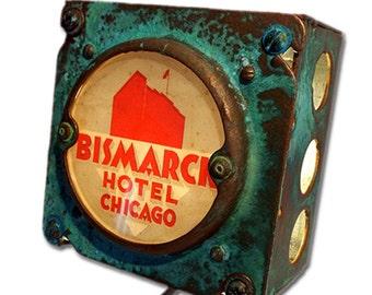 Bismark Hotel Chicago Luggage Label Night Light Industrial Chic