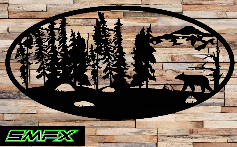 Large Bear Scene Metal Wall Art Oval Insert 2
