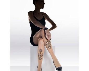 Gold black Tattoo Tights I Paisley print on skin sheer designed tights. Free shipping!!