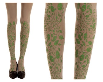 Green Forest print on grey designed tights| Color Tights | Free Shipping |