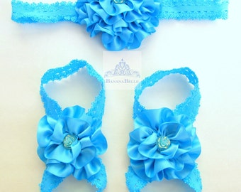 barefoot sandal set,newborn hairband,infant headband,girls hair flower,footless sandals,baby hairpiece,wedding headpiece,foot jewelry