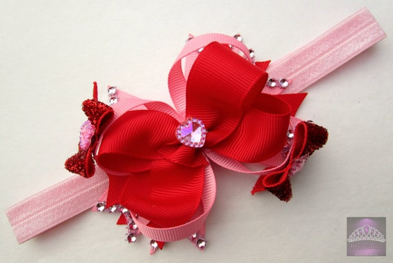 Valentine's Day,newborn photo prop,infant headband, foe hairband,no slip hair clip,red and pink,valentines baby,wedding flower girl