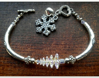 Ab Clear Swarovski Crystal Christmas Tree Bracelet With Snowflake Charm and Bell