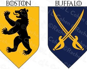 NHL Hockey Game of Thrones Inspired Medieval Fantasy Sigil Poster INDIVIDUAL TEAMS 12x18