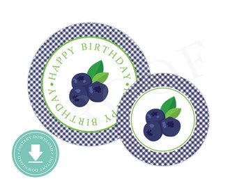 INSTANT DOWNLOAD Blueberry Party Circles (Blueberry Birthday Decor, Printable Party Circles, Printable Flower Decorations, Blueberry Party)