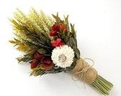 Bridesmaids Bouquet-Maid of Honor-Small Bridal Bouquet-Keepsake-Flower Girl Bouquet-Wheat Bouquet-Simple Wedding Bouquet-MARSALA Collection