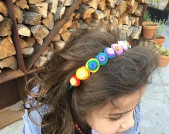 Button rainbow fun... multicolor felt headband