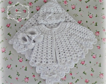 White Baby Gift Set - Sweater/blanket/Booties/Beanie - Baptism, Christening, Blessing - Coming Home Set