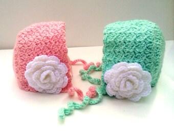Crochet Baby Bonnet with Flower