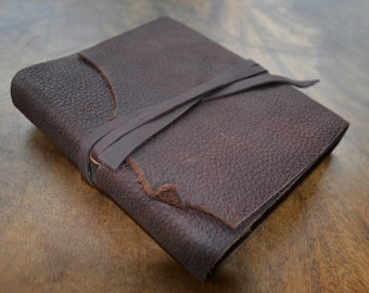Brown BullHide Leather Bound Journal Leather Diary Notebook with Custom Engraving Printing on Request Custom Handmade to Order (412G)