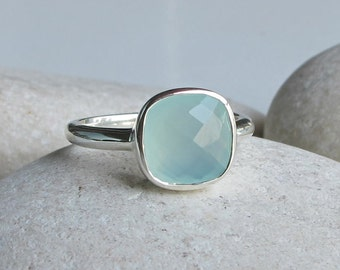 Stackable Blue Chalcedony Ring- Blue Gemstone Ring- Bezel Faceted Blue Ring- Aqua Blue Square Ring- Cushion Cut Seaform Ring Silver Ring