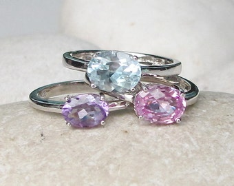 October, February, December Birthstone Ring- Stack Gemstone Ring- Pink Topaz Ring- Blue Topaz Ring- Amethyst Ring- Mothers Ring- Stone Ring
