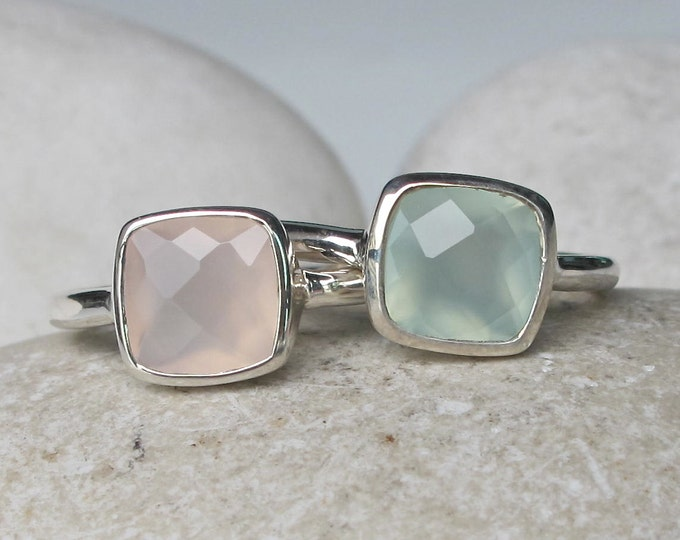 Pastel Stack Gemstone Ring- Square Pink Green Ring- Statement Stackable Stone Ring- Sterling Silver Ring Set- Faceted Cloudy Stone Ring