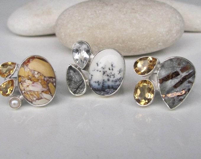 Citrine Ring- November Ring- Topaz Ring- October Ring- Druzy Ring- Opal Ring- Birthstone Ring- Multi Stone Ring- Gemstone Ring