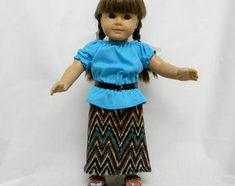 Maxi Skirt With Peasant Blouse For 18 Inch Doll Like The American Girl