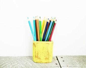 SALE - Bright Yellow Pencil Holder - Flea Market Chic Home Decor - Organization