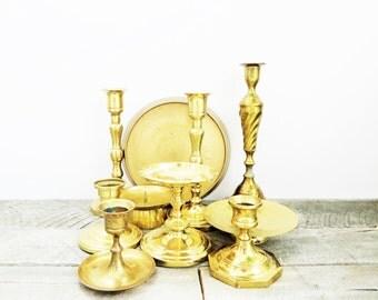 10 Brass Candlesticks - Patina - Mismatched Flea Market Chic - Modern Hippie Decor