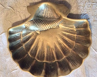 VINTAGE Solid Brass Sea Shell Tray for Trinkets or Jewelry with Koi Fish Embossed on Sea Shell