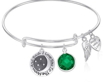 I Love You to the Moon and Back Expandable Wire Bangle Bracelet with May Birthstone GIFT BOXED