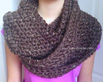 Crochet Infinity Scarf, Cowl Scarf, Loop Scarf -Dark Brown with Tan Specks- Circle Scarf, Women, Girl, Thick, Soft, Warm, Fluffy, Chunky